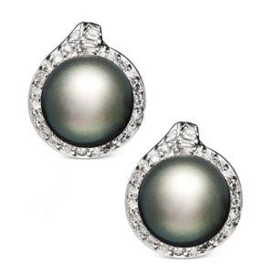 Macy's 14k White Gold Earrings, Cultured Tahitian Pearl (11mm) and Diamond (3/4 ct. t.w.) Stud Earrings  - Gray