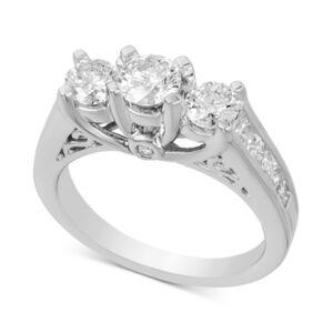 Macy's Diamond Three Stone Engagement Ring (2 ct. t.w.) in 14k White Gold  - White Gold