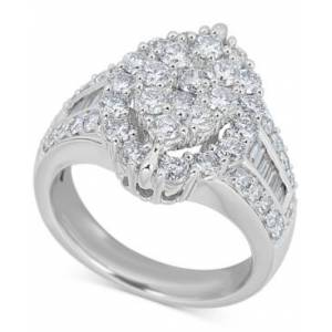 Macy's Diamond Oval Cluster Ring (2 ct. t.w.) in 14k White Gold  - White Gold