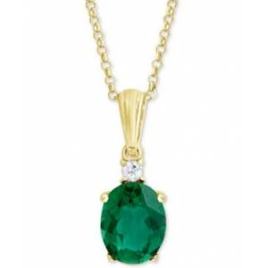 """Macy's Green Quartz (2-3/8 ct. t.w.) & White Topaz Accent 18"""" Pendant Necklace in 18k Gold-Plated Sterling Silver  - Gold"""