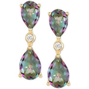 Macy's Amethyst (5-1/3 ct. t.w.) & Diamond (1/20 ct. t.w.) Drop Earrings in 14k Rose Gold (Also in Mystic Topaz & Blue Topaz)  - Mystic Topaz