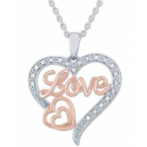 "Macy's Diamond Love Heart Pendant Necklace (1/10 ct. t.w.) in Sterling Silver & 14k Rose Gold-Plate, 16"" + 2"" extender  - Silver"