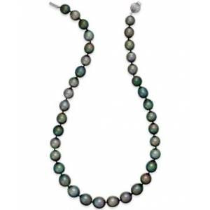Macy's Cultured Tahitian Black Pearl (10-12mm) Strand Necklace in 14k White Gold  - Gray