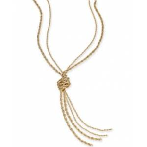 "Charter Club Double Rope Knotted Lariat Necklace, 32"" + 2"" extender, Created for Macy's  - Gold"