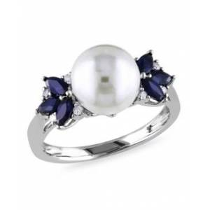 Macy's Freshwater Cultured Pearl (9-9.5mm), Sapphire (5/8 ct. t.w.) and Diamond Accent Ring in 10k White Gold  - White