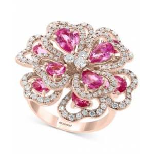 Effy Collection Effy Pink Sapphire (3-3/4 ct.t.w.) & Diamond (7/8 ct. t.w.) Flower Statement Ring in 14k Rose Gold  - Pink Sapphire