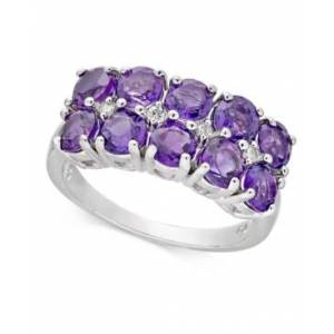 Macy's Amethyst (2 ct. t.w.) & Diamond Accent Double Row Statement Ring in 14k White Gold  - Amethyst