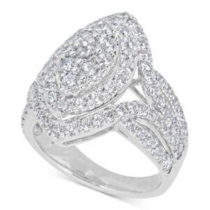 Macy's Diamond Cluster Ring (2-1/2 ct. t.w.) in 14k White Gold  - White Gold