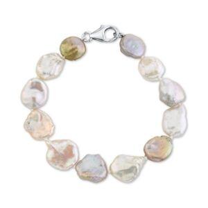 Macy's Cultured Freshwater Keshi Pearl (10-14mm) Bracelet  - Silver