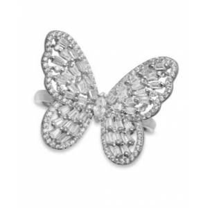 Macy's Cubic Zirconia Baguette Butterfly Ring (1-1/2 ct. t.w.) In Sterling Silver or 18K Rose Gold over Sterling Silver  - Sterling Silver