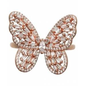 Macy's Cubic Zirconia Baguette Butterfly Ring (1-1/2 ct. t.w.) In Sterling Silver or 18K Rose Gold over Sterling Silver  - Rose Gold over Silver
