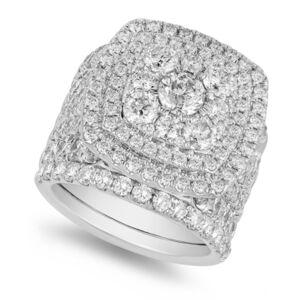 Macy's Diamond (6 ct. t.w.) Halo Cluster Bridal Set in 14k White Gold  - White Gold