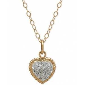 Macy's Children's 14k Gold Necklace, Crystal Heart Pendant  - White