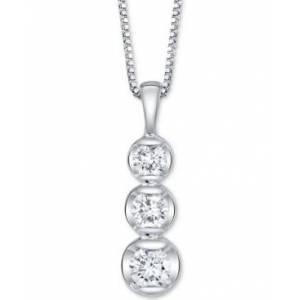 "Sirena Diamond Three Stone 18"" Pendant Necklace (1/3 ct. t.w.) in 14k White Gold  - White Gold"