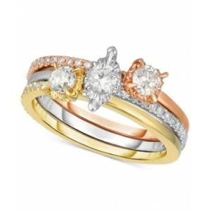Macy's 3-Pc. Set Diamond Stackable Rings (3/4 ct. t.w.) in 14k Gold, White Gold & Rose Gold  - White Gold