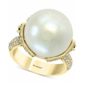 Effy Collection Effy Cultured Freshwater Pearl (15mm) Emerald (1/2 ct. t.w.) & Diamond (5/8 ct. t.w.) Statement Ring in 14k Gold  - Yellow Gold