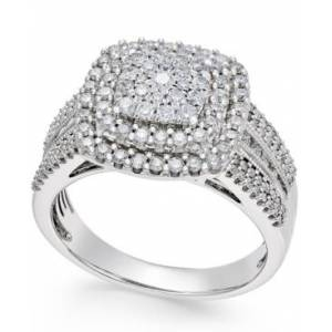 Macy's Diamond Cluster Ring (1 ct. t.w.) in 14k Gold or White Gold  - White Gold