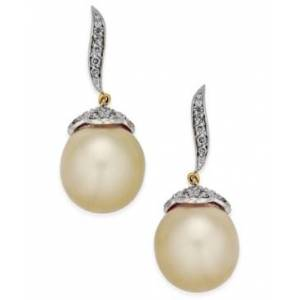Macy's Cultured Oval Golden South Sea Pearl (11mm) and Diamond (3/8 ct. t.w.) Drop Earrings in 14k Gold  - Gold