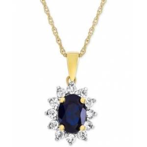 Macy's Lab-Created Blue Sapphire (1-1/3 ct. t.w.) & White Sapphire (1/2 ct. t.w.) Pendant Necklace in 14k Gold-Plated Sterling Silver  - Sapphire
