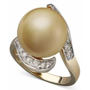 Macy's 14k Gold Ring, Cultured Golden South Sea Pearl (14mm) and Diamond (1/3 ct. t.w)  - Gold