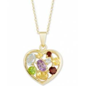 "Macy's Multi-Gemstone Mosaic Heart 18"" Pendant Necklace (2-3/8 ct. t.w.) in 18k Gold-Plated Sterling Silver  - Gold"