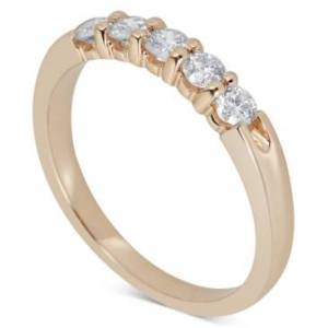 Macy's Diamond Five-Stone Ring (1/2 ct. t.w.) in 14k White or Yellow Gold  - Yellow Gold