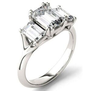 Charles & Colvard Moissanite Emerald Three Stone Ring (2-9/10 ct. tw.) in 14k White Gold  - White Gold