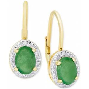 Macy's Emerald (1-1/2 ct. t.w.) & Diamond Accent Drop Earrings in 18k Gold-Plated Sterling Silver  - Gold