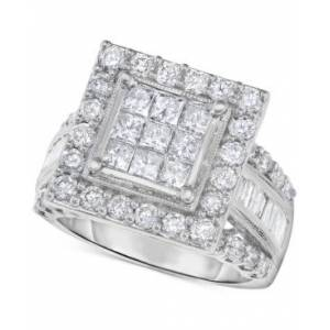 Macy's Diamond Princess Cluster Halo Engagement Ring (2-1/2 ct. t.w.) in 14k White Gold  - White Gold