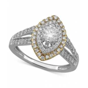 Macy's Diamond Marquise Double Halo Ring (1 ct. t.w.) in 14k Gold & White Gold  - White Gold