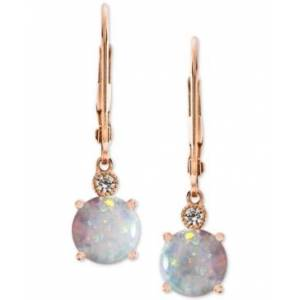 Macy's Lab-Created Opal (1-1/2 ct. t.w.) & White Sapphire Accent Drop Earrings in 14k Rose Gold-Plated Sterling Silver  - Opal