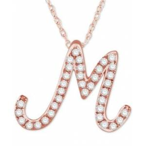 "Macy's Diamond Initial Pendant Necklace (1/10 ct. t.w.) in 14k Rose Gold Over Sterling Silver, 16"" + 2"" Extender  - M"