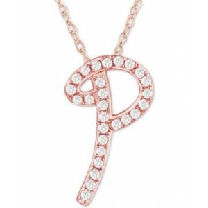 """Macy's Diamond Initial Pendant Necklace (1/10 ct. t.w.) in 14k Rose Gold Over Sterling Silver, 16"""" + 2"""" Extender  - P"""