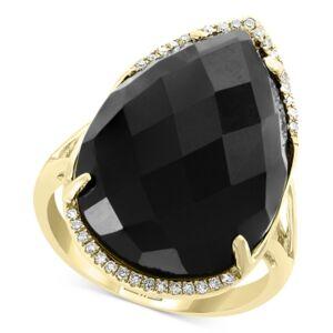 Effy Collection Effy Onyx (22 x 15mm) & Diamond (1/10 ct. t.w.) Statement Ring in 14k Gold  - Black