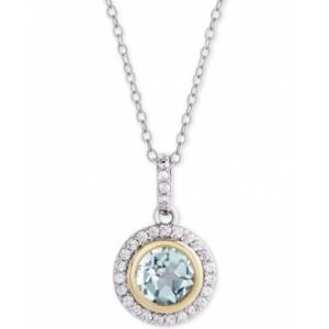 "Macy's Blue Topaz (1-1/2 ct. t.w.) & Cubic Zirconia Halo 18"" Pendant Necklace in Sterling Silver & 18k Gold-Plate  - Blue Topaz"