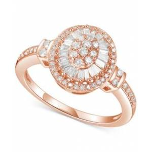 Macy's Diamond Baguette Halo Cluster Ring (1/2 ct. t.w.) in 14k Gold or Rose Gold  - Rose Gold