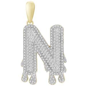 Macy's Men's Diamond (1/3 ct.t.w.) Dripping Initial Pendant in 10K Yellow Gold  - N