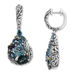 Effy Collection Effy Multi-Gemstone Teardrop Drop Earrings (7-1/2 ct. t.w.) in Sterling Silver & 18k Gold-Plate  - Silver/gol