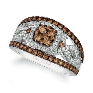 Le Vian Chocolatier Chocolate Diamond (1 ct. t.w.) & Vanilla Diamond (1/3 ct. t.w.) Statement Ring in 14k White Gold  - White Gold