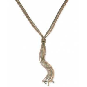 """Alfani Knotted Lariat Necklace, 32"""" + 2"""" extender, Created for Macy's  - Tri-Tone"""