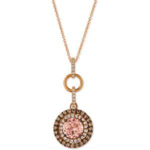 """Le Vian Peach Morganite (1-3/8 ct. t.w.) & Diamond (7/8 ct. t.w.) 18"""" Pendant Necklace in 14k Rose Gold"""