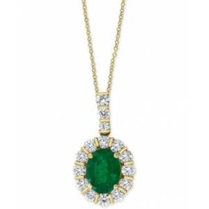 """Effy Collection Effy Emerald (2-1/6 ct. t.w.) & Diamond (3/8 ct. t.w.) 18"""" Pendant Necklace in 14k Gold  - Emerald"""