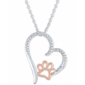 """Macy's Diamond Heart & Paw Pendant Necklace (1/10 ct. t.w.) in Sterling Silver & 14k Rose Gold-Plate, 16"""" + 2"""" extender  - Silver"""