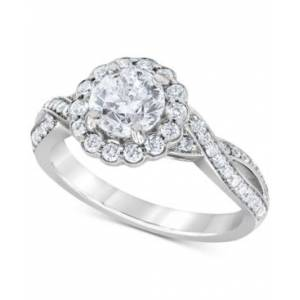 Macy's Diamond Halo Twist Engagement Ring (1-3/4 ct. t.w.) in 14k White Gold  - White Gold