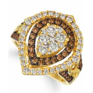 Le Vian Chocolate & Nude Diamond Cluster Halo Ring (1-9/10 ct. t.w.) in 14k Rose, Yellow or White Gold  - Yellow Gold