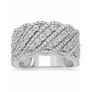 Macy's Diamond Diagonal Row Wide Statement Ring (1/6 ct. t.w.) in 10k White Gold  - White Gold