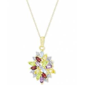 Macy's Multi-Gemstone (2-1/8 ct. t.w.) and Diamond Accent Cluster Pendant Necklace in 18k Gold-Plated Sterling Silver  - Gold