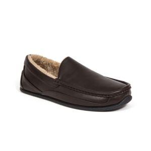Deer Stags Slipperooz Men's Spun Indoor Outdoor S.u.p.r.o. Sock Cozy Moccasin Slipper Men's Shoes  - Dark Brown