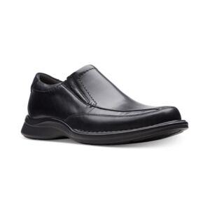 Clarks Men's Kempton Free Black Leather Dress Casual Loafers Men's Shoes  - Black Leather
