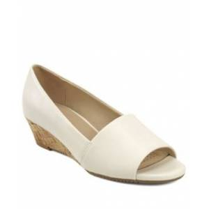 Aerosoles Application Low Wedge Peep Toe Women's Shoes  - Bone